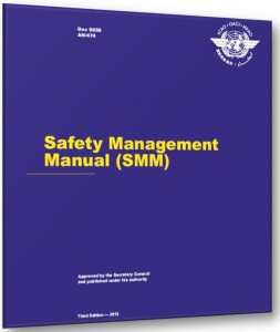 ICAO Safety Management Manual (SMM) Doc 9859 The SMM has developed since the first edition in 2006. The current 3rd Edition was produced in May 2013 to complement Annex 19. It provides guidance material on safety management principles and concepts, State Safety Program and Safety Management System. It has a three year review and amendment cycle. The SMM is made up of 5 chapters Chapter 1 - Overview of the manual Chapter 2 - Safety Management fundamentals Chapter 3 - ICAO Safety Management SARPS Chapter 4 - State Safety Programs (SSP) Chapter 5 - Safety Management Systems In context, Chapter 1 is general reading, Chapter 2 and 5 essentially provide the material for the CASA CAAPs designed for industry use, and Chapters 3 and 4 are more aimed at large Government organisations that require to comply with the SSP. These being; Department of Infrastructure & Transport, CASA, ATSB, Airservices Australia, Department of Defence Bureau of Meteorology and AMSA.