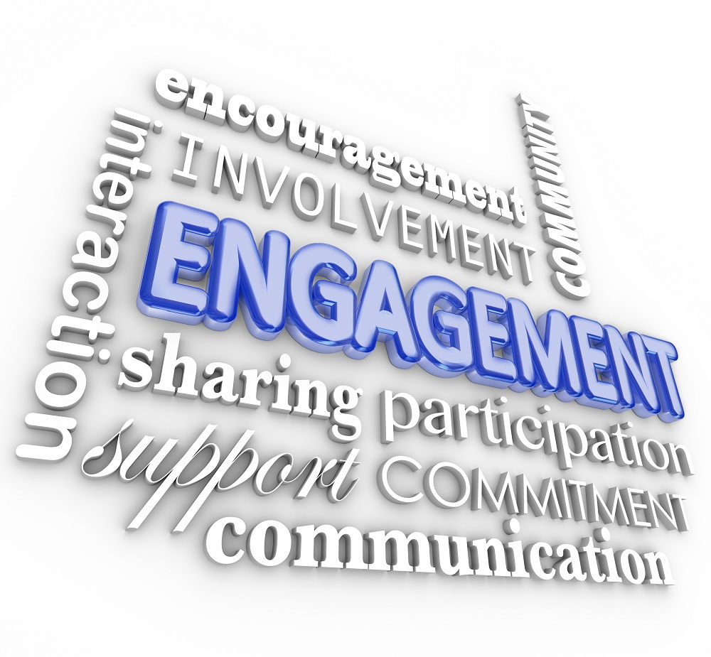 Engagment word in 3d letters with related terms such as interact
