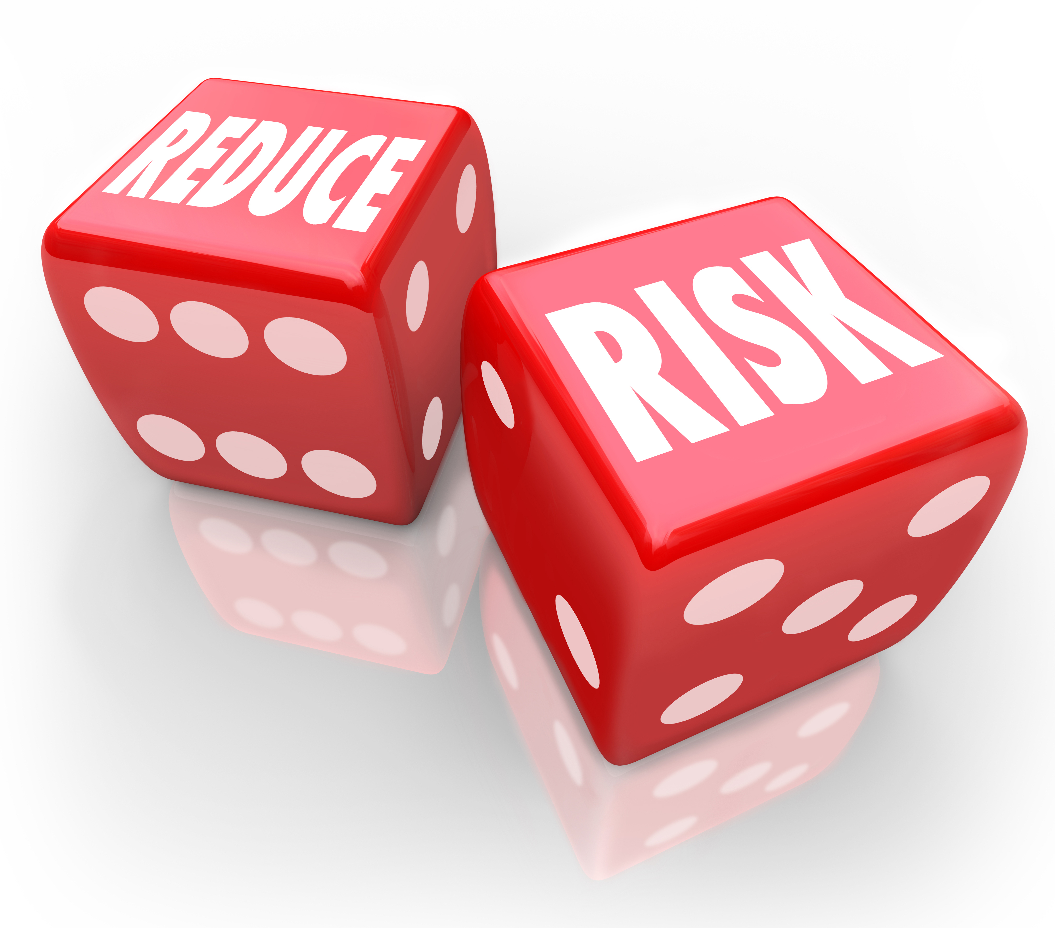 Reduce Risk words on two red dice to illustrate lowering your ch